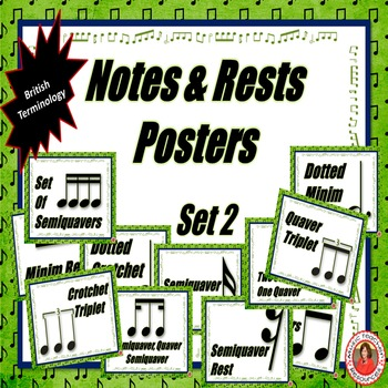 Music Classroom Decor Kits: Notes and Rests Set 2: British Terminology