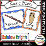 Music Decor - RAINBOW BRIGHTS - Instrument Posters - Orchestra, Orff, and World!