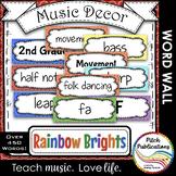 Music Decor - RAINBOW BRIGHTS - Music Word Wall