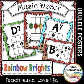 Music Decor Rainbow Brights Ukulele Chord Chart Posters Tpt