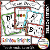 Music Decor Rainbow Brights  - Ukulele Chord Chart Posters