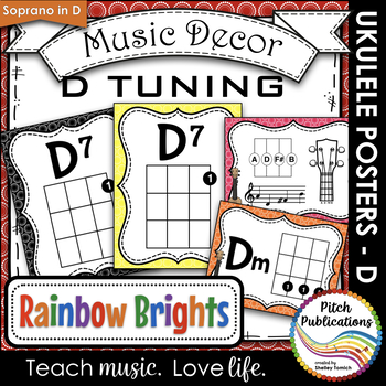 Music Decor Rainbow Brights Ukulele Chord Chart Posters D Tuning