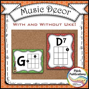 Music Decor Rainbow Brights  - Ukulele Chord Chart Posters D TUNING