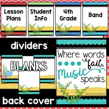 Music Decor: Sea-Themed Music Teacher Binder Sheets