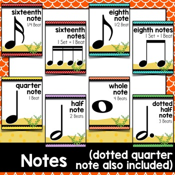 Music Decor: Sea-Themed Notes and Rests Duration Posters