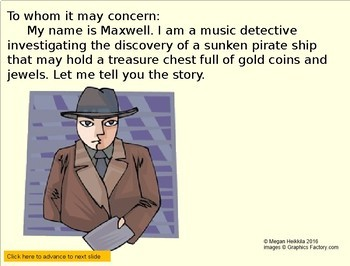 """Music Detective #3 """"Case of the Rhythm Pirates Treasure"""" Elementary Music PPT"""