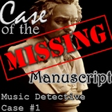 "Treble Clef Game Music Detective #1 ""Case of the Missing Manuscript"" POWERPOINT"