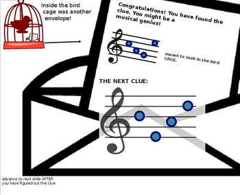 """Treble Clef POWERPOINT Game Music Detective #1 """"Case of the Missing Manuscript"""""""