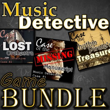 Music Detective Game Bundle - Treble Clef Notes, Instruments, Rhythm POWERPOINT