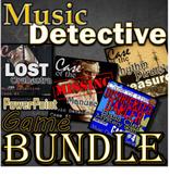 Music Detective - PPT BUNDLE - 4 games for ELEM - Treble Bass Orchestra Rhythm