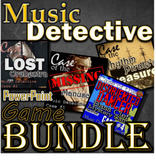 Music Detective - PPT BUNDLE - 4 games for ELEM - Treble Bass Orchestra Rhythm