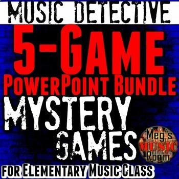 Music Detective PPT 5-game BUNDLE - Treble Bass Orchestra Rhythm ELEM MUSIC