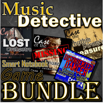 Music Detective - SMARTBOARD BUNDLE - 4 games ELEM- Treble Bass Orchestra Rhythm