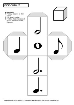 Music Dice Activity - Notes and Rests