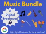 Music Digital Breakout Bundle: (String Instruments, Percussion, Blues, & Music)
