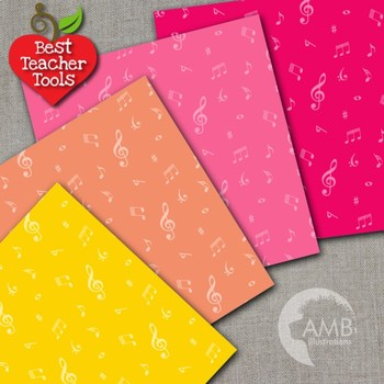 Music Digital Papers, Musical Note Patterned Backgrounds, Deep Color, AMB-2330