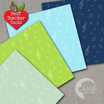 Music Digital Papers, Musical Note patterned Backgrounds, AMB-2321