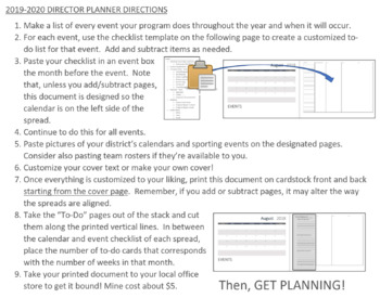 Music Director's Planner 2018-2019 Editable with detailed Event Planning Pages