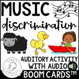 Music Discrimination Auditory Songs Activity BOOM CARDS™ H
