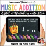 Music Distance Learning BOOM Cards: Halloween Music Math Addition