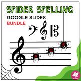 Music Distance Learning: Halloween Spider Spelling BUNDLE - GOOGLE SLIDES