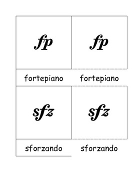 Music Dynamics 3 Part Cards