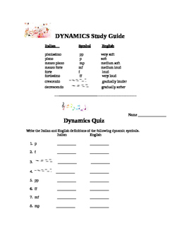 Music Dynamics Study Guide and Quiz