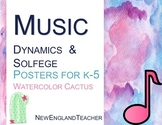 Music Dynamics and Solfege Mini Posters for Bulletin Board in Watercolor Cactus