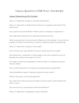 Music ECE-6th Grade Inquiry Questions (CDE Music Standards)