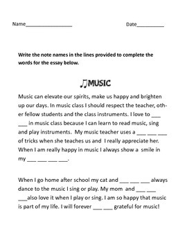 Music Essay Fill the blanks