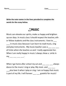 Music Essay Fill the blanks