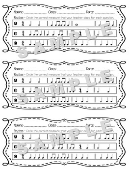Music Exit Tickets on Rhythms for Formative Assessment w/ Answer Key