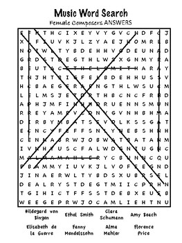 Music - Female Composers Word Search