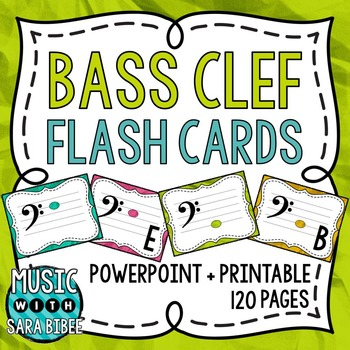 Music Flash Cards- Bass Clef- Digital With Printout Option