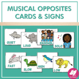 Musical Opposites Assessment Cards and Posters for Primary Grades