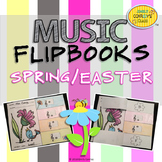 Spring Music Coloring Sheet Flipbooks (For Treble Clef Note Name Review)