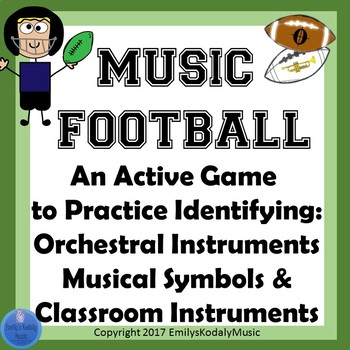 Music Football BUNDLE-Music Symbols and Orchestral and Classroom Instruments