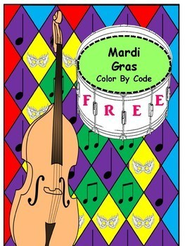Music Freebie! Color By Code: Mardi Gras
