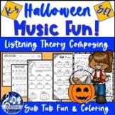 Distance Learning MUSIC   October, Halloween K-2 Worksheet