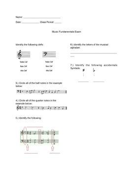 Music Fundamentals Exam - Intermediate/Advanced Level