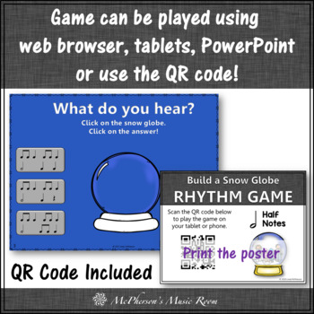 Music Game Half Notes Interactive Rhythm Game & Assess {Build a Snow Globe}