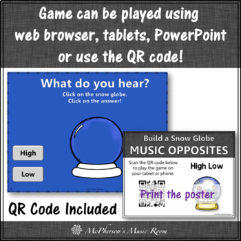 Music Game: High Low Interactive Music Opposite & Assessment Build a Snow Globe