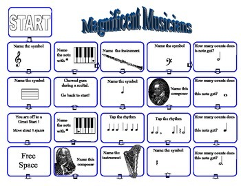 Music Game: Review Rhythm Instruments Composers Note Values Symbols, Have Fun!