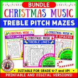 Music Games Activities: Treble Pitch Music Maze Puzzles Bundle