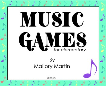 Music Games for Elementary (Kodaly, Sub Plans, Lesson Plans)