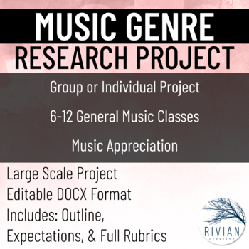 Music Genre Research Project (Editable) (With Rubrics)