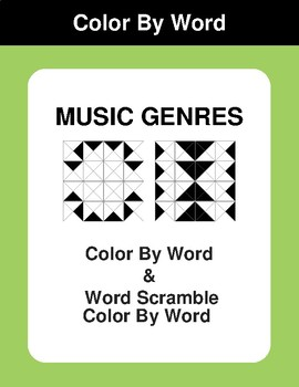 Music Genres - Color By Word & Color By Word Scramble Worksheets