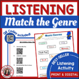 Music Genres Listening Worksheets with QR codes - for Middle School Music Set 1