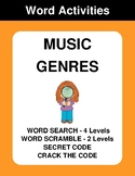 Music Genres - Word Search, Word Scramble,  Secret Code,  Crack the Code