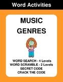 Music Genres - Word Search, Word Scramble,  Secret Code,